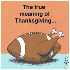 holiday football - the true meaning of Thanksgiving lol  Actually, family and food too :)