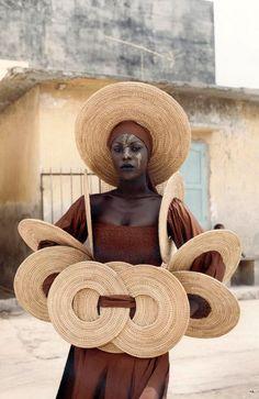 Africa   Fashion from Senegalese designer Oumou Sy, 5th International Fashion Weed SIMOD, Dark, June 2001    ©Sibylle Bergemann ~ Fashion in Dakar