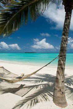 Empty hammock on a beach, Maldives