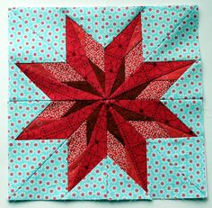 "the pattern from Carol Doak's ""50 Fabulous Paper Piecing Stars"".  The Nebraska star"