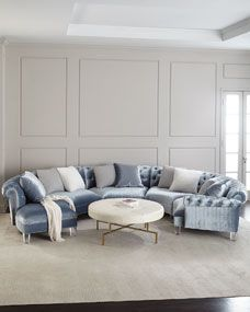 Shop Varianne Curved Sectional Sofa from Haute House at Horchow, where you'll find new lower shipping on hundreds of home furnishings and gifts. Living Room Furniture, Living Room Decor, Home Furniture, Furniture Design, Antique Furniture, Wooden Furniture, Furniture Ideas, Sofa Ideas, Furniture Layout