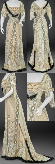 Evening dress, by G. Giuseffi Ladies' Tailoring Company, American, 1908-15. Silk voided velvet, silk net, lace, silk chiffon, glass beads, rhinestones, mother-of-pearl bugle beads, fur. Images courtesy of the Indianapolis Museum of Art.