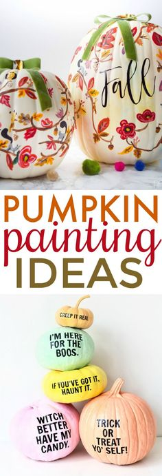 10 Pumpkin Painting Ideas Painted pumpkins are not only a perfect home decor for fall but a great Halloween kids craft too. If you're looking for some Pumpkin Painting Ideas this roundup is perfect for you. 10 Pumpkin Painting Ideas Painted pumpkins a Scary Halloween Pumpkins, Halloween Crafts For Kids, Diy Halloween Decorations, Halloween Snacks, Fall Decorations, Halloween 2019, Fall Halloween, Halloween Party, Pumpkin Crafts
