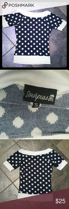 Sourpuss PINUP Boat neck Sweater Top S worn maybe 3 times. Excellent condition top.  Navy and white Sourpuss  Tops