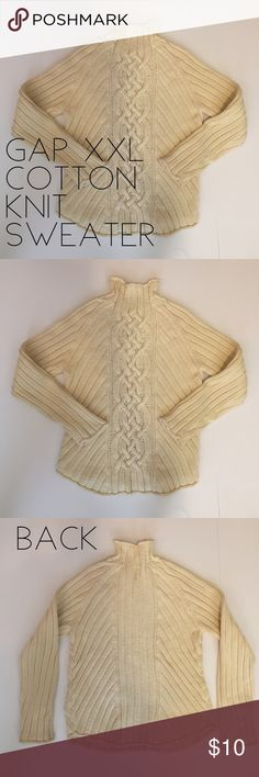"GAP Heavy Cotton Knit Sweater- XXL GAP Heavy Cotton Knit Sweater- XXL  Heavy fisherman Knit  Great for Spring   Color: Cream  Excellent used condition  Smoke/pet free home  Measurements  Shoulder:  18"" Bust:  20.5"" Length:  25.5"" GAP Sweaters Cowl & Turtlenecks"
