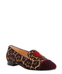 7ecd07b177c5 Christian Louboutin rouge and leopard calf hair 'My Love' quilted toe  loafers | BLUEFLY
