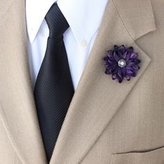 Lapel Flower for Men Mens Lapel Flower Purple Lapel Flower Purple Flower Pin for Men Purple Boutonniere Gift for Him Mens Fashion