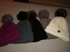 5 braid beanies, knitted with extra merino yarn. The pattern is created by TeeTee.