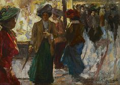 Franciscus Willem 'Frans' Helfferich (1871-1941) Shopping in The Hague by night, oil on panel 17.0 x 23.6 cm., signed l.r. Collection Simonis & Buunk, The Netherlands.