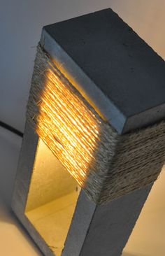Concrete and Jute Rope Table Lamp