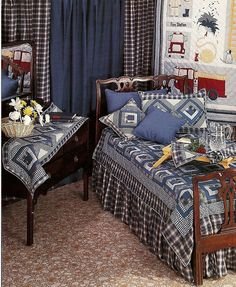 Blue Log Cabin Country Bedding in coordinating plaids, stripes, and checks. Comes in all sizes with draperies, too.
