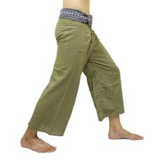 Olive Thai Fisherman Pants with Thai hand woven fabric on waist side, Wide Leg pants, Wrap pants, Unisex pants  $25.00 Free shipping