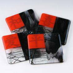 ASIAN Theme Fused Glass Coaster Set by AtlantisDesigns on Etsy, $45.00