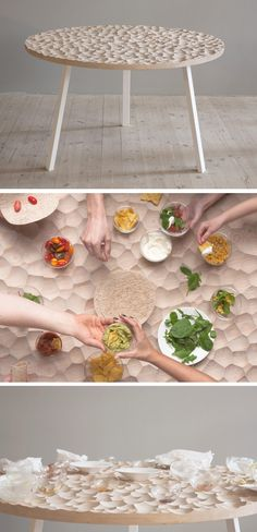Sofia Almqvist of design studio Kompaniet has created Umami, a carved out wooden table with custom ceramic and glass table top items that fit perfectly into the 'scoops' of the table.