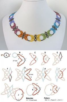 FREE beading pattern for necklace Butterfly Lace - SalvabraniBildergebnis der Free Beaded Butterfly Patterns Source byPerles Moonlight: Perler Classes et bijoux en perles Beading Patterns Free, Seed Bead Patterns, Beading Tutorials, Weaving Patterns, Mosaic Patterns, Knitting Patterns, Crochet Patterns, Seed Bead Jewelry, Bead Jewellery