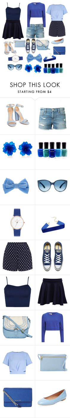 """""""Blue, blue and more blue!"""" by sassyfashionista101 ❤ liked on Polyvore featuring Frame Denim, Matthew&Melka, Zoya, claire's, Zizzi, Converse, WearAll, Pilot, T-shirt & Jeans and Lavish Alice"""