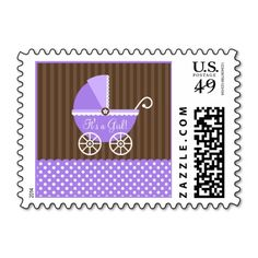 Purple Brown Carriage Dots It's a Girl Baby Shower Postage Stamp