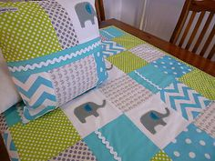 Patchwork Elephants Aqua And Green Cot Quilt in Baby | eBay