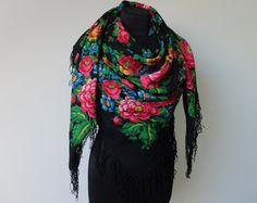 Vintage shawl.Large Black Flower Shawl.Floral от StyleVintageShop