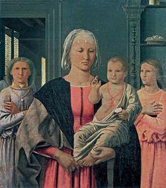 У картины «Мадонна с благословляющим младенцем и двумя ангелами» Пьеро делла Франческо есть второе название - «Мадонна Сенигалья», которое появилось в 1822 году, когда ее обнаружили в маленькой церкви близ города Сенигалья и перевезли в Урбино.