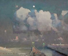 Rye Harbour, Moonrise FRED CUMING RA Oil on canvas 20 x 24 ins