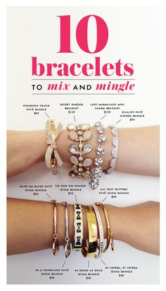 10 Bracelets to Mix and Mingle: A different arm party, every day of the week. Jewelry Box, Jewelery, Jewelry Accessories, Fashion Accessories, Fashion Jewelry, Teen Jewelry, Bullet Jewelry, Jewellery Earrings, Gothic Jewelry