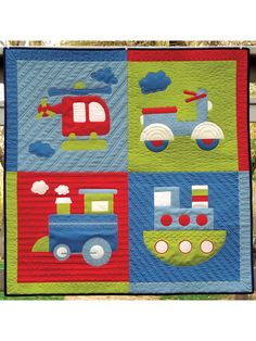 Chug n Tug Quilt Pattern ~ easy ~ uses four fabrics and one cream fat quarter ~ no sashings or borders ~ finished size x ~ QUILTING Hand Quilting Patterns, Jelly Roll Quilt Patterns, Patchwork Quilt Patterns, Free Motion Quilting, Applique Quilts, Quilting Projects, Applique Patterns, Easy Quilts, Children's Quilts