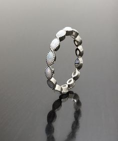 14K White Gold Eternity Opal Engagement Band Marquise Opal