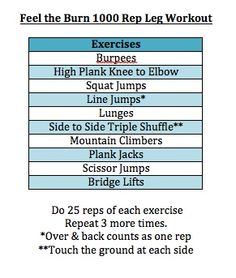 Feel the burn leg workout