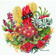 Wildflower Bouquet Cross Stitch Kit designed by Helene Wild for DMC 1