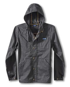 KAVU Lumber Jack It-Black-Full zip shell jacket with hood, one chest patch pocket and one welt pocket, lower zip pockets, adjustable sleeve cuffs, large antique brass zippers, rivets and snaps, and thick thread. Fabric: 8oz. 100% cotton twill with light wax coating.