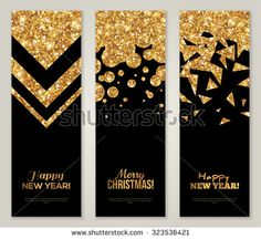 Vertical Back and Gold Banners Set, Greeting Card Design. Golden Foil Geometric…
