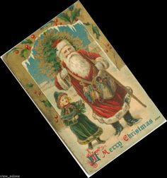C587 OLD WORLD SANTA & GIRL IN GREEN HEAVY GOLD CANE  CHRISTMAS 1909 POSTCARD #Christmas