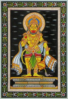Lord Hanuman (Orissa Pattachitra Painting on Patti - Unframed) Madhubani Painting, Madhubani Art, Krishna Painting, Indian Traditional Paintings, Indian Paintings, Krishna Leela, Jai Hanuman, Indian Rangoli, Indian Art