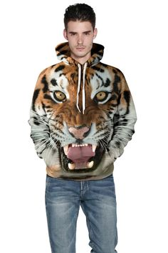 3D printed hoodies with Men's tiger head 3D print crew neck hoodie – menlivestyle Vest Outfits, Sport Outfits, Tiger Head, Hooded Sweater, Vest Jacket, Hoods, Winter Jackets, Mens Fashion, Pullover