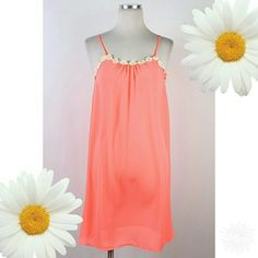 << Daisy Days Peach Chiffon Dress >> A super cute dress with pretty spring colors! A loose fit for a comfy flowy feel!  Available in small medium and large Twang Boutique  Dresses Mini