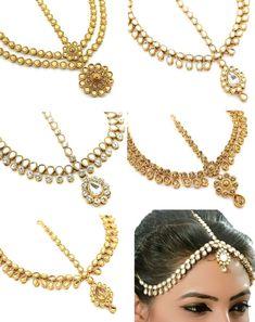 Gold Clear Indian Kundan Head Piece Chain Matha Patti Crystal Jewellery New 98 Fashion Jewelry
