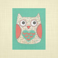 Cute owl print  kids wall art nursery art playroom by RosyHuesArt, $14.00
