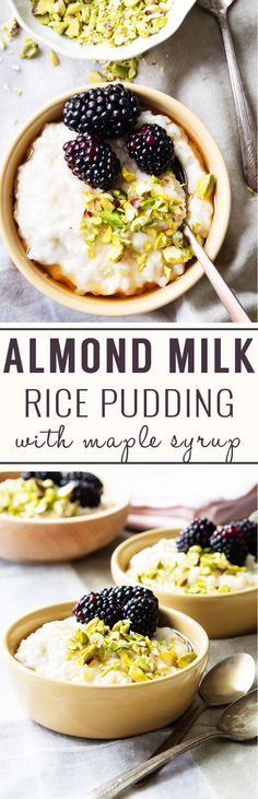 Almond Milk Rice Pudding (Vegan, GF) - a rice pudding made without refined sugar. Perfect for breakfast topped with maple syrup. Enjoy it warm!