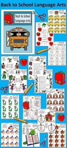 Back to School Language Arts: Contains many engaging activities all with a Back to School theme.  Includes color & b/w versions.  Contents include: * Contractions Worksheets * Plural Nouns Worksheet * Synonyms Worksheet * Antonyms Worksheet * End Marks Wo