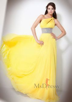 A-line One Shoulder Floor-length Chiffon Evening Dress with Beading