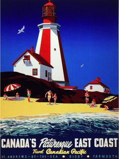 Vintage Travel Poster - Canada via paul.malon Vintage Canadian Pacific travel poster for Canada's East Coast. Via the Canadian Design Re. Travel Ads, Travel Photos, Travel Agency, Vintage Advertisements, Vintage Ads, Vintage Advertising Posters, Vintage Room, Vintage Pink, Posters Canada
