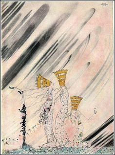A Kay Nielsen illustration from East of the Sun and West of the Moon, 1914. Those are three princesses wearing princess hats. All princesses have them.
