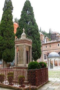 Zografou Monastery Courtyard, Mount Athos, Greece