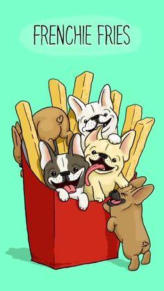 Frenchie Fries, French Bulldog illustration ❤️
