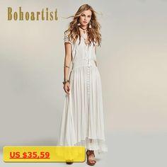 Bohoartist Feminina White Lace Dress Crochet Tropical Dress New 2017 Boho Hollow Out Beach Lace Ankle-Length Dress Elegant Maxi