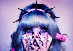cute, girl, hair, headband, kawaii, lolita, pastel, pastel goth, pink, skin, spikes, pale goth