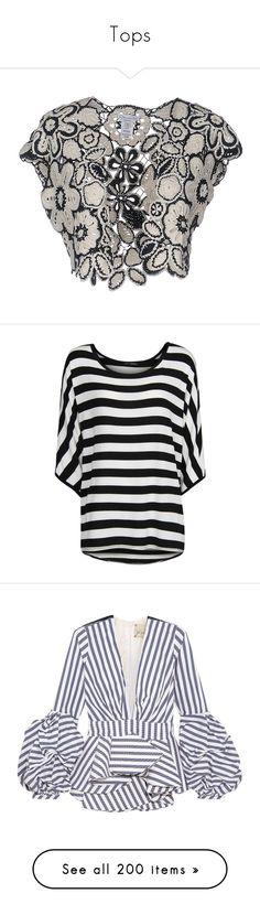 """Tops"" by olga1402 ❤ liked on Polyvore featuring dark blue, lace shrug, oscar de la renta, shrug cardigan, cardigan shrug, tops, t-shirts, shirts, striped and black"