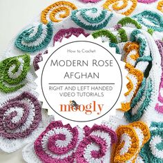 Learn how to crochet the Modern Rose Afghan - free on Mooglyblog.com! Right and left handed video tutorials included!