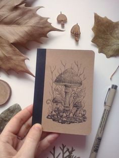 Mushroom fantasy ink drawing by charlotte lyng